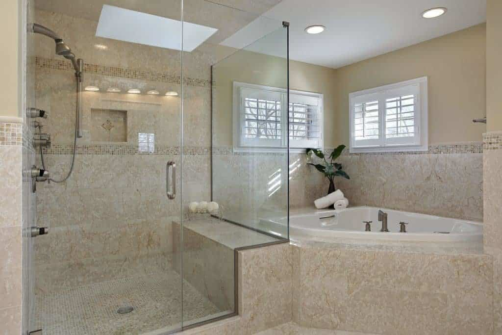 Glass shower door, Bathroom Remodeling costs, upscale