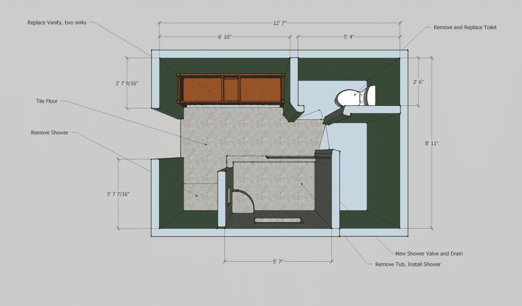 Bathroom Floor plan after