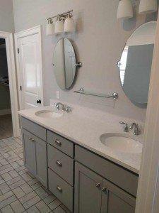 Grey Bathroom Vanity, white quartz counter top