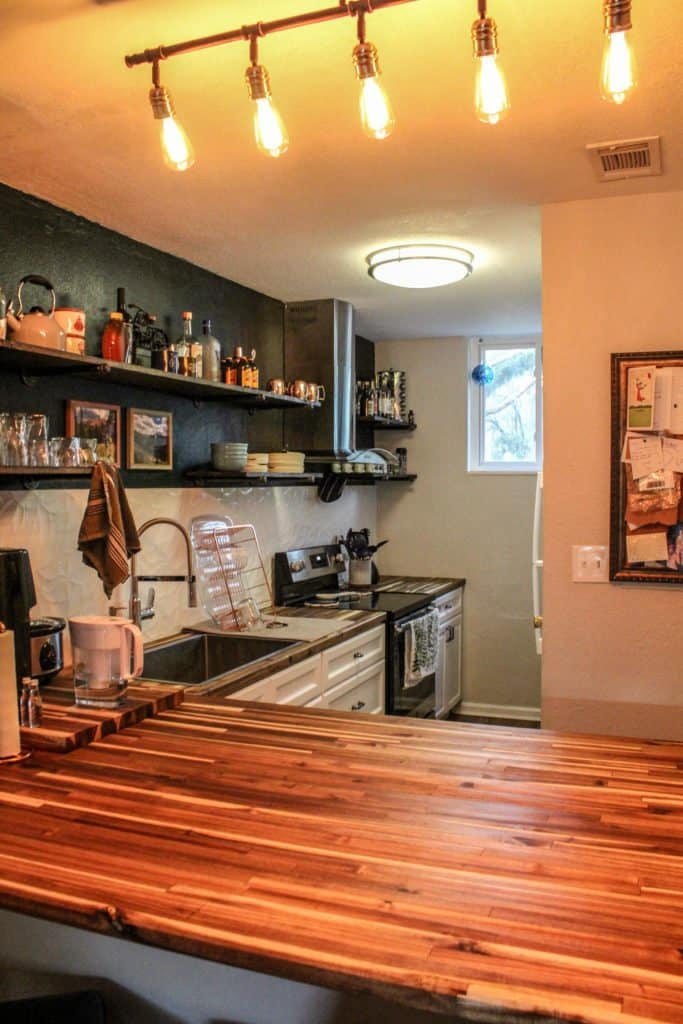Condo Kitchen Update Kitchen cabinets floating shelves