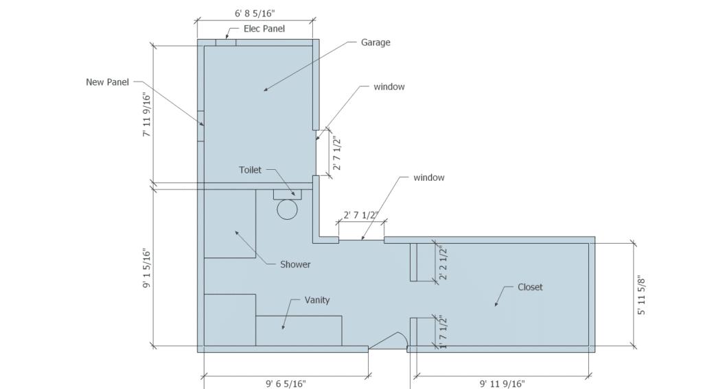 Master Suite Remodel Before floorplan